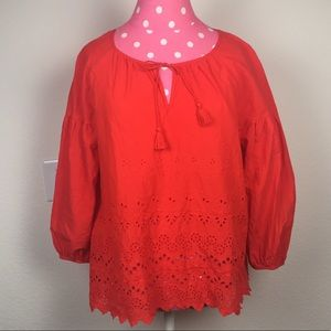 MADEWELL Red Peasant Eyelette Puff Sleeve Top